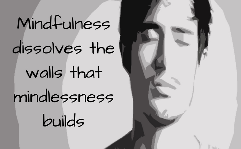 Mindfulness dissolves the walls that mindlessness builds